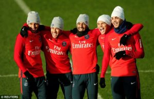 Trening piłkarzy Paris Saint Germain